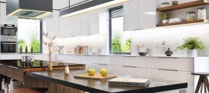 Luxurious interior of white modern kitchen