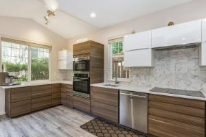 Contemporary kitchen design in a remodeled home.