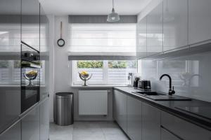 Interior of modern designed kitchen with window