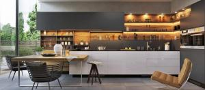 Modern two colors white and grey slab design kitchen.