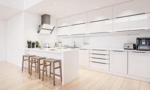 Scandinavian modern kitchen, minimalist interior design.